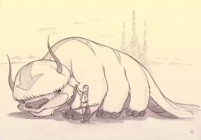 Aang and Appa Sketch by sherwoodwhisper