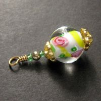 Summer Roses Lampwork Charm by Gilliauna