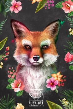 Fox of Spring - Pop Art collection by Ruby--Art