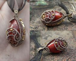 Red egg steampunk pendant by ukapala