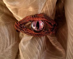 Copper Steampunk Violet Dragon Eye Bracelet Pic2 by LadyPirotessa