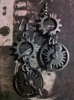 Silver Cogs Earrings by NenaPerrill