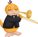Psyduck playing trombone for Charity-Guild by UszatyArbuz