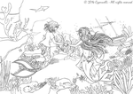 Ink Commission - An Outsider Meeting a Mermaid by Cypernelli
