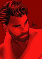Bearded Man Red Serie by ArtByFab