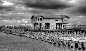 St Kilda Old Pier BW by DanielleMiner