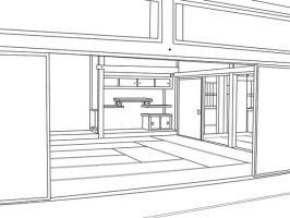 japanese Room free lineart by HitoRyu