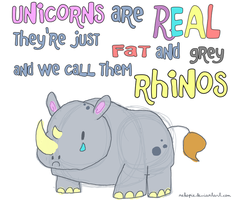 rhinos are just ugly unicorns by Nekopie