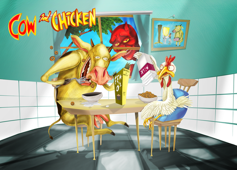 Cow and Chicken by biondoartwork
