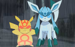 Omega Pikachu and Alpha Glaceon by AdvanceArcy