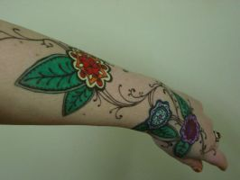 Paisly Flowers -Arm Tattoo by Gizmodian