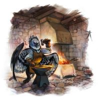 Gryphon Blacksmith by rah-bop