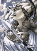 Athena Classic Mythology Sketch Card by RichardCox