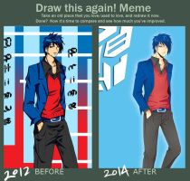 TF Gijinka - Optimus Prime before-after meme by 15DEATH