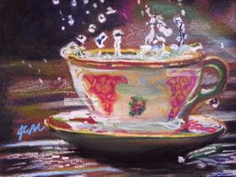 tea cup under the rain by aramismarron