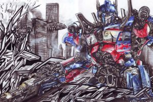 optimus prime in graffiti completed by KondaArt