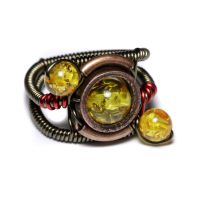 Steampunk Ring yellow orbit by CatherinetteRings