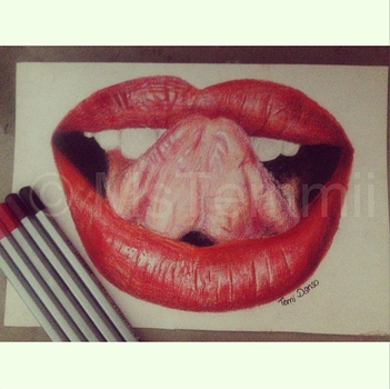 Red Lips in Colouring Pencils by MsTemmii