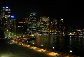 Sydney Harbour at night by es32