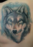 Wolf tattoo color by Remistattoo