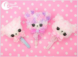 Crochet fuzzy lollipop bear brooch and clip 2 by CuteMoonbunny