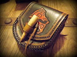Boar Pouch with Antler tip toggle by The-Beast-Man