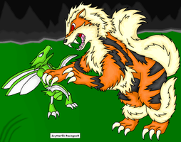Pokemon...Arcanine and Scyther by racingwolf