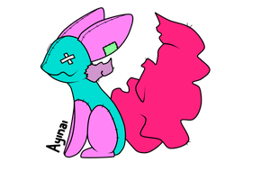 Cyan and Pink Broken Plush Bunny by viexii
