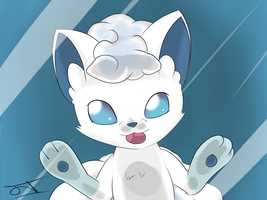 Alolan Vulpix at your screen by JollyThinker