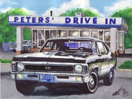 1970 Chevy Nova SS At Peters' Drive In (painting) by FastLaneIllustration