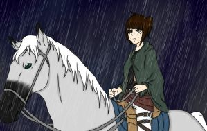 In the rain by FreckleJesusxhorse
