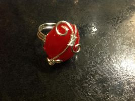 Red resin ring by Taffy-art