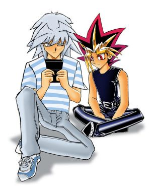 Atem_Bakura_and_GBA_SP_by_teanachan