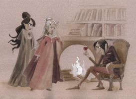 Bellatrix, Narcissa and Snape by asiapasek