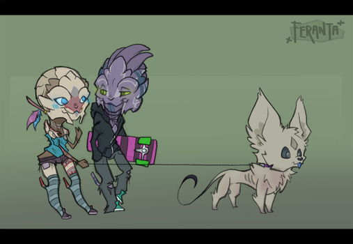Walk the doggy with the hubby by Pyremoonshadow