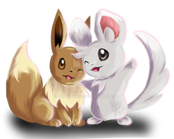 Eevee and Minccino Request by vioxshadow