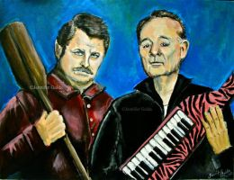 Ron Swanson and Bill Murray by JenniferTheFirst