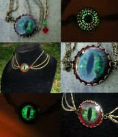 Custom Red Green Glow 3 Chain Choker for Lady GA by LadyPirotessa