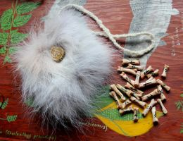 Wolf Bone Rune Set with Wolf Fur Bag by lupagreenwolf