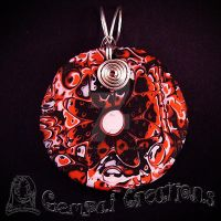 Handcrafted Polymer clay Red Seniorita Necklace by Gempai-Creations