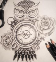 Owl Compass Tattoo Design by sophhammy