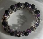 Amethyst Iolite Blue Goldstone Coil Bracelet 2 by Windthin