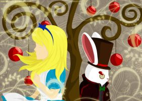 Alice and Rabbit in Wonderland by Adenoviruzz
