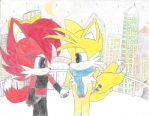 drawing of Tails and Fiona the fox by sonikku3419