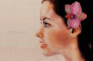 Profile with orchid by Larocka84