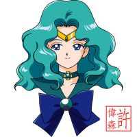 Sailor Neptune Face Anime Style by xuweisen