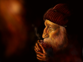 Old Man and Tea by Rommeu