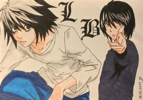 L and B (Death Note) by Lauria88