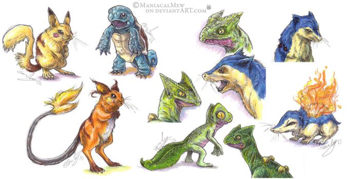 Realistic Poke-sketches compilation by ManiacalMew
