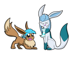 COM - Glaceon and eevee by SolarPaintDragon